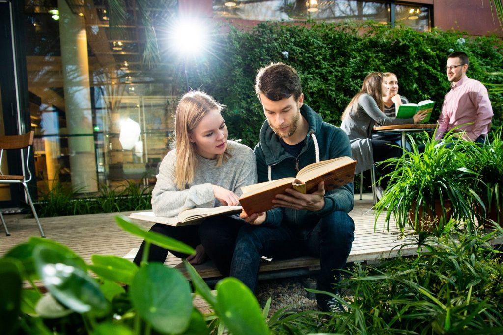 Loimulaiset opiskelijat lukemassa