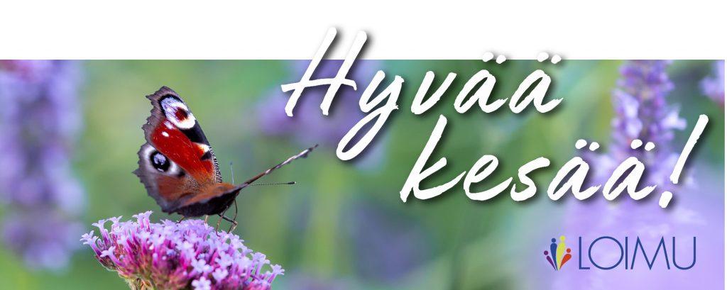 Hyvää kesää Loimulta - perhonen ja kukka
